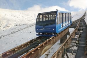 blue funicular in snow